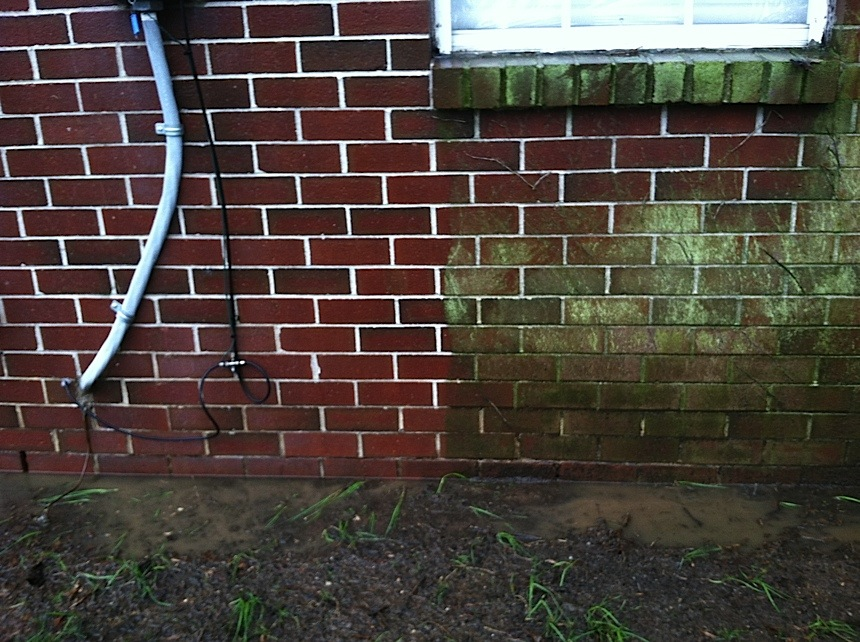 Brick Cleaning, Pressure Washing to remove mold, mildew, fungus